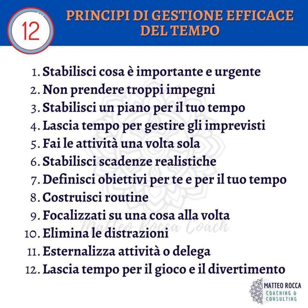 PRINCIPI DI GESTIONE EFFICACE DEL TEMPO